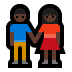 👫🏿 woman and man holding hands: dark skin tone Emoji on Windows Platform