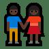 👫🏿 Dark Skin Tone Woman and Man Holding Hands Emoji on Windows Platform