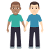 👨🏽🤝👨🏻 Medium Skin Tone And Light Skin Tone Men Holding Hands Emoji on Windows Platform