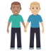 👨🏽‍🤝‍👨🏼 men holding hands: medium skin tone, medium-light skin tone Emoji on Windows Platform
