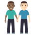 👨🏾‍🤝‍👨🏻 men holding hands: medium-dark skin tone, light skin tone Emoji on Windows Platform