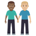 👨🏾🤝👨🏼 men holding hands: medium-dark skin tone, medium-light skin tone Emoji on Windows Platform