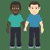 👨🏿🤝👨🏻 men holding hands: dark skin tone, light skin tone Emoji on Windows Platform