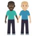 👨🏿‍🤝‍👨🏼 men holding hands: dark skin tone, medium-light skin tone Emoji on Windows Platform