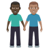 👨🏿‍🤝‍👨🏽 men holding hands: dark skin tone, medium skin tone Emoji on Windows Platform