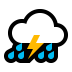 ⛈️ cloud with lightning and rain Emoji on Windows Platform